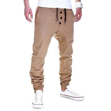 c36b6fa1cfee14 Pants Herren,Binggong Herren Mode Hosen Sweatpants Harem Hosen Slacks  Lässige Jogger Dance Sportwear Baggy Drei Schnallen Freizeithose Slacks  Stretch ...
