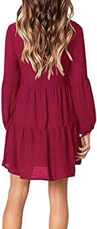beautyjourney Vestido de Manga Larga Linterna de Las Mujeres Vestido Largo hasta la Rodilla con Cuello en V de Color Liso Casual Mini Vestido de Blusa Suelta
