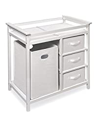 Modern White Changing Table with Hamper and Three Baskets BOBEBE Online Baby Store From New York to Miami and Los Angeles