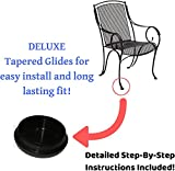 """Wrought Iron Chair Glides 1-1/2"""" - 28 Pack of Patio Furniture Deluxe Feet Protectors 1.5"""" for Outdoor Patio Chairs, Tables-Step-By-Step Instructions now included"""