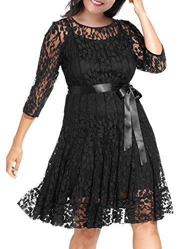 Nemidor Women's Illusion Floral Lace 3/4 Sleeves Plus Size Cocktail Dress (18W, Black)