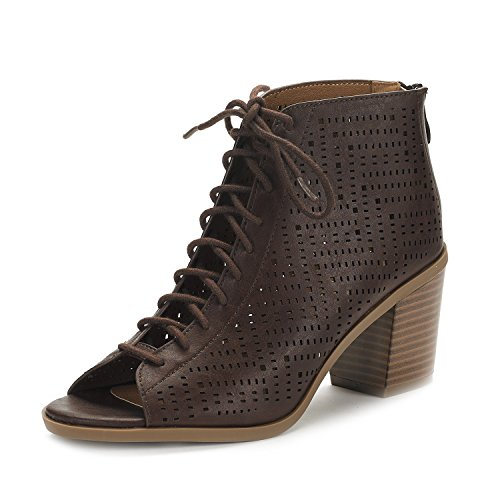 DREAM PAIRS Women's Egypt Brown Pu Mid Heel Ankle Bootie Shoes - 8 M US