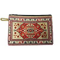 Red Gold Colors Designer Rosary Case Tapestry Cloth Catholic Purse Keepsake 5.7