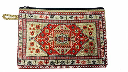 Nazareth Store Red Gold Colors Designer Rosary Case Tapestry Cloth Catholic Purse Keepsake 5.7