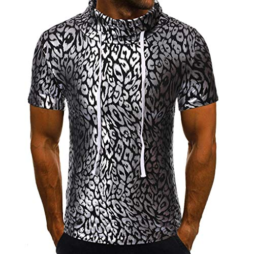MmNote mens clothes clearance sale, Mens Cotton Black White Animal Texture Design Classic Fashion Short Sleeve Short Sleeve ()