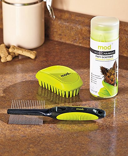 MOD 3 Piece Dog Grooming Kit: 2-in-1 Knot Remover Comb, Spa Massage Brush, Chamois Drying Cloth by MOD