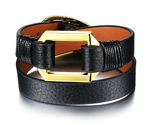 Epinki Gold Plated Link Bracelet for Men Women Hollow Rectangle Double Layer Leather Black 16.5CM (Dolce Gabbana Gold Bracelets)