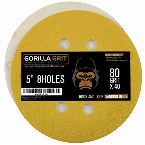 Gorilla Grit 40 PCS 80 Grit Sanding Discs 5 Inch 8 Hole Hook and Loop Sanding Discs for Orbital Sanders Premium Abrasive Sandpaper Pads for Wood and Metal Surfaces