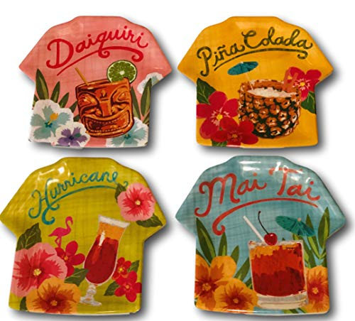 Tommy Bahama Tropical Cocktails Melamine Appetizer Dessert Plates Set of 4 (Dishes Tommy Bahama Outdoor)