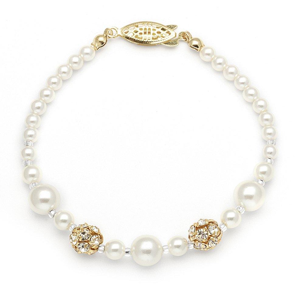 Amazon.com  Mariell Ivory Simulated Pearl Wedding Bridal Bracelet with  Swarovski Crystal Rhinestones - Made in USA  Mariell  Jewelry d1a09e1ea0