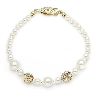 Mariell Ivory Simulated Pearl Wedding Bridal Bracelet with Swarovski  Crystal Rhinestones - Made in USA dbb57929cda3
