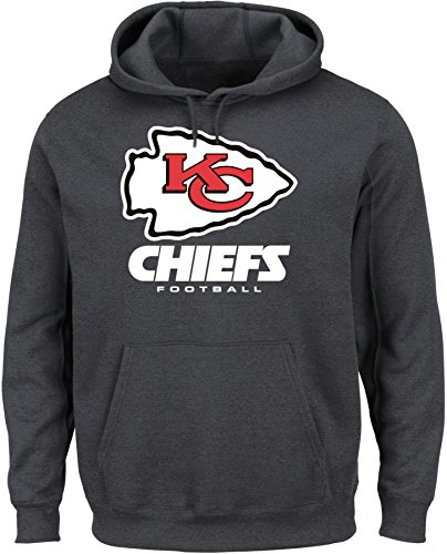 NFL Kansas City Chiefs Men's Our Team Long Sleeve Screen Print Hooded Fleece Pullover, Medium, Charcoal Heather by VF LSG