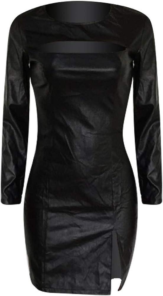 NTOW Damen Lederr/öcke Overall Lederrock Schlitz PU Schlanke Hochwertige Kleid
