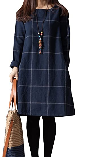 OULIU-Women Plaid Cotton Linen Loose Long Sleeve Midi Shift Dress at ... ae31f0a88