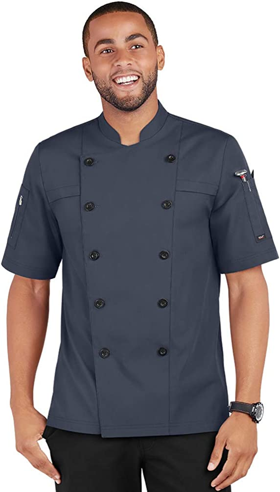 Men's Lightweight Chef Coat with Hidden Mesh Vents (S-3X, 5 Colors)