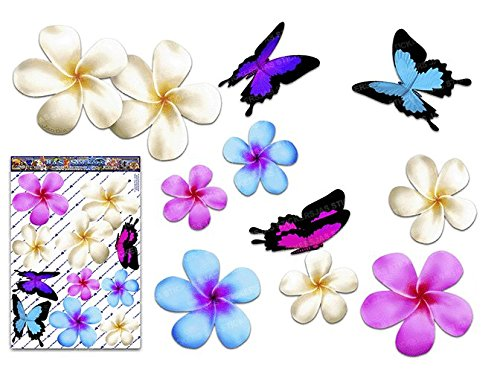 Frangipani plumeria large multi coloured double flower butterfly animal pack car stickers st00024mc lge