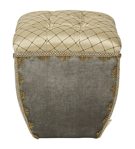 Cheap Jennifer Taylor Home Jan Collection Modern Turk Cap Geometric Design Hand Tufted With Decorative Trim and Embellishments Square Ottoman, Multicolor/Brown/Gold