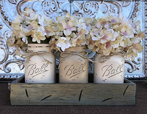 Mason Canning JARS in Wood RIVER ROCK Gray Blue Tray Centerpiece with 3 Ball Pint Jar -Kitchen Table Decor -Distressed Rustic -Hydrangea Flowers (Optional) -COFFEE, CREAM, SAND Painted Jars (Pictured) ()