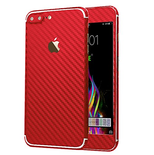 iPhone 7 Plus Sticker, Toeoe Luxury 3D Textured Carbon Fibre Decal Skin with a Clear Case for iPhone 7 Plus Red (Red Skin Phone Case Clear)