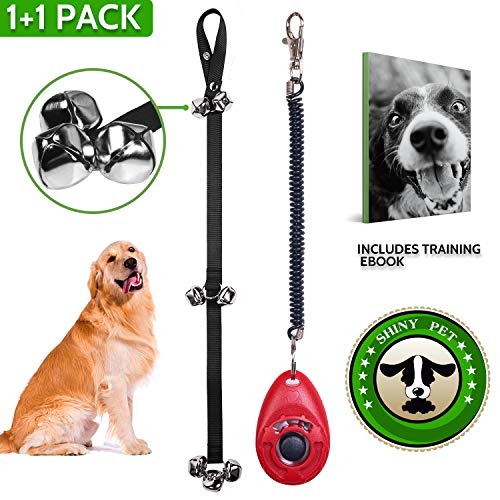 muzii Dog Doorbells for Potty Training - Heavy Duty Nylon Adjustable Dog Potty Bells with Dog Training Clicker- Easy to Hear Door Bells for Dog Training