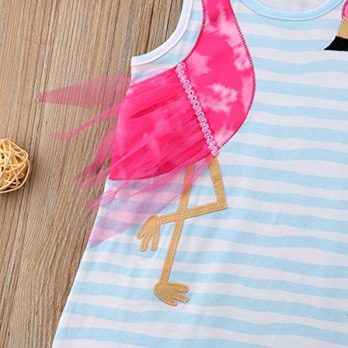 be6dbcf731b0 Amazon.com: Baby Kids Toddler Girls Flamingo Patchwork Striped Dress  Sleeveless Casual Princess Clothes Outfit: Clothing
