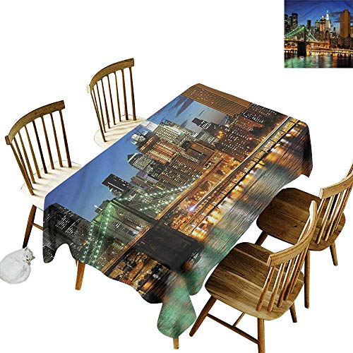Rectangular Tablecloth City New York at Night Bridge Party Decorations Table Cover Cloth 60