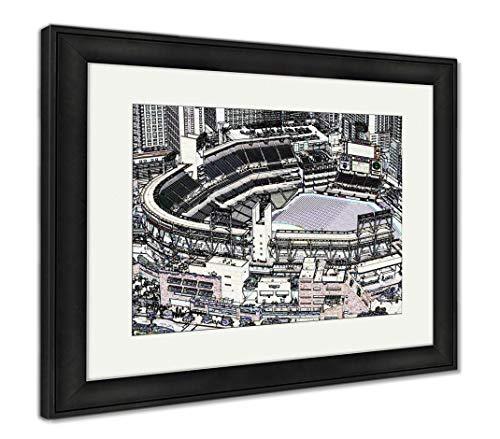 (Ashley Framed Prints Petco Park Line Drawing, Wall Art Home Decoration, Color, 34x40 (Frame Size), Black Frame, AG5597380)