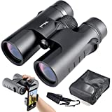 Binoculars Compact for Bird Watching, 10x42 Bright and Clear Range of View, High Powered Magnification, for Travel, Astronomy, Sports and Wildlife, Comes with Case, Lens Caps, Strap and Warranty