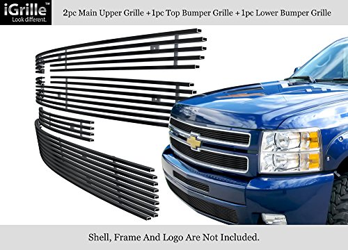 Fits 2007-2013 Chevy Silverado 1500 Stainless Steel Black Billet Grille Combo (Silverado Stainless Steel Billet Grille)