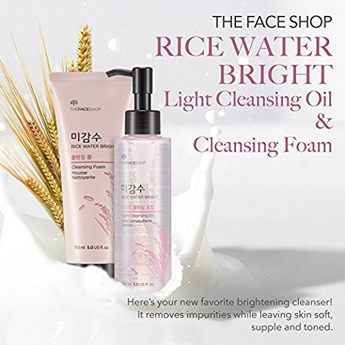 The Face Shop Rice Water Bright Cleansing Foam (150 mL/5.0 Oz) & Light Cleansing Oil (150 mL /5 Oz) Set, Moisturizing And Brightening Care For All Skin Types by THEFACESHOP (Image #1)