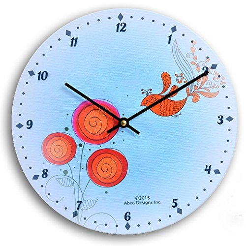 Contemporary flower design 10 inch wall clock. Blue background with red and orange flowers and bird.