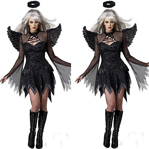 Angel And Devil Costume (Hallowmax's Halloween Women Cosplay Suit Fallen Angels Devil Witch Costume)