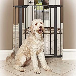 "MidWest Homes for Pets Steel Pet Gate/Pet Safety Gate; 29"" & 39"" Tall in Soft White or Textured Graphite 86"