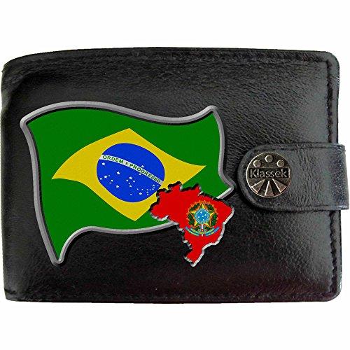 Portefeuille Boîte Noir En Brésil Présente Cuir Avec Monnaie Brasil Brésilien Carte Drapeau Homme Cadeau Porte Métal Armoiries Klassek Véritable qqrxawtTv