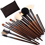 ZOREYA(TM) Makeup Brushes 15pc High End Real Walnut Handle Makeup Brush Set- Free Dark Brown Leather Brush Case Holder with Contour Foundation Brush Set