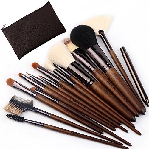 ZOREYA Makeup Brushes 15pc High End Real Walnut Handle Makeu