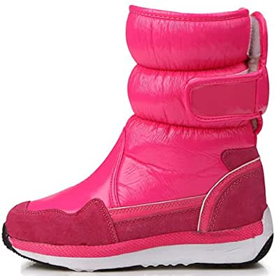 New Lovely Pink Shiny Waterproof Winter Snow Womens Boots (6.5)