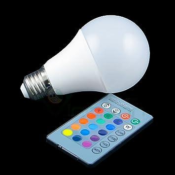 Nueva Bombilla LED E27 + Mando a distancia Luz 16 colores + Blanca fija Flash Multicolor