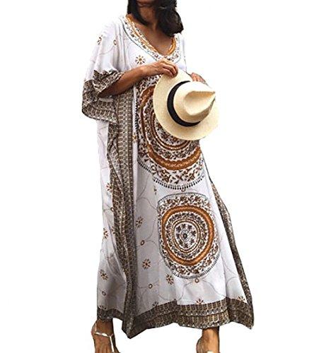(Bestyou Women's Print Rayon Kimono Cardigan Swimsuit Cover up Tunic Tops Swimwear (Geo Print A))
