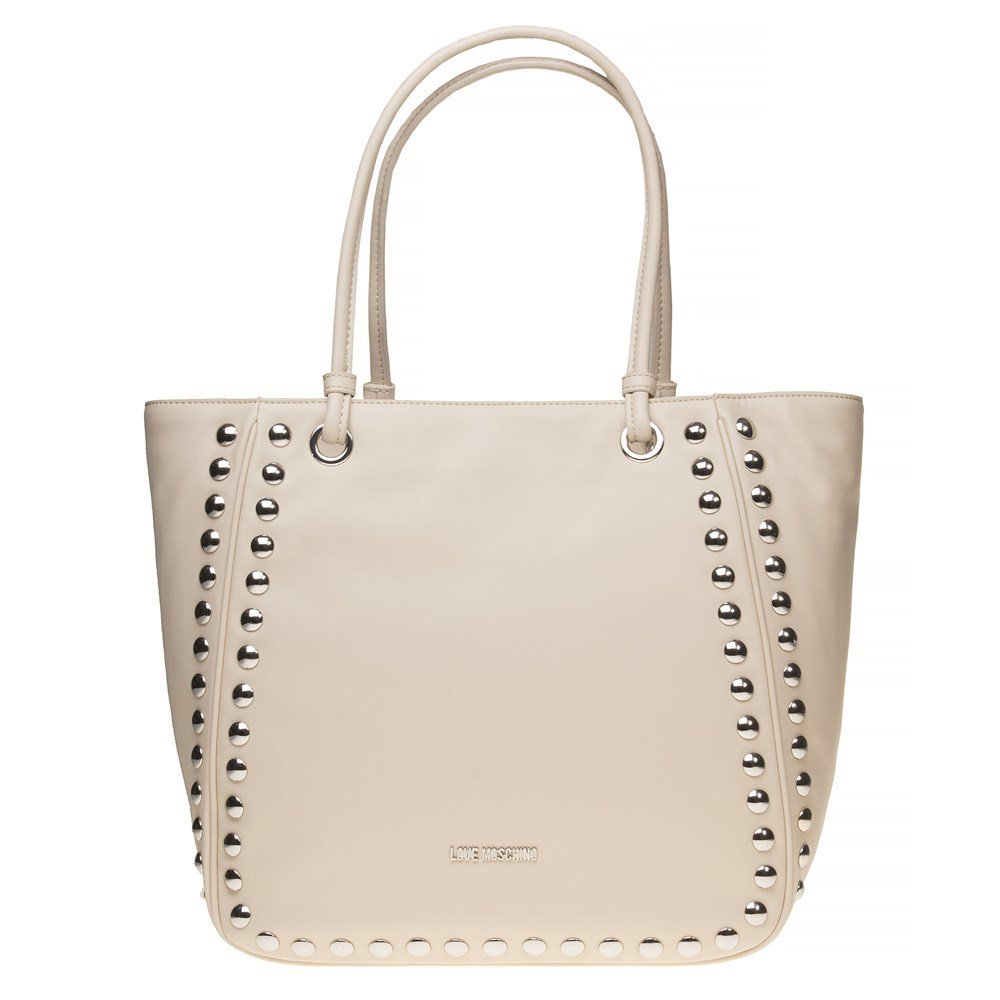 Love Moschino Studded Tote Womens Handbag Natural