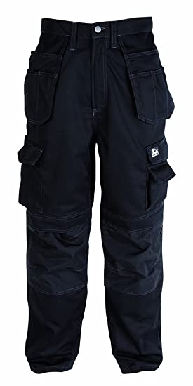 3c38408694044 Himalayan Iconic Workwear Holster Pocket Knee Pad Cargo Work Trousers, Black  or Grey (W32