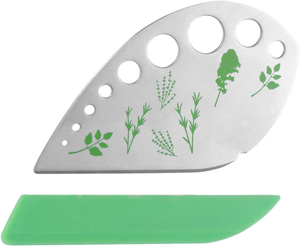LOVOE Herb Stripper 9 holes, Stainless Steel Kitchen Herb Leaf Stripping Tool for Kale, Chard, Thym, Basil, Rosemary, Parsley