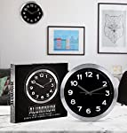 Utopia Home Decorative 12-Inch Black Wall Clock (Aluminum) - Non-Ticking, Silent Sweep Function - Black Dial with White Numbers & Silver Hands – Battery Operated