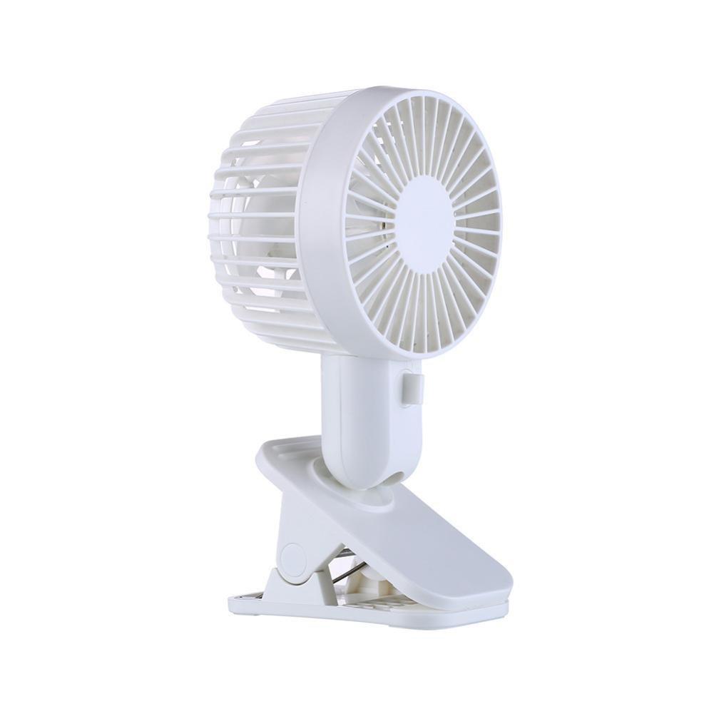 Sikye PP USB Fan,Protable Double Turn Leaves Fan Electric Fan Mini Desk Stand Fan with Clip 3-Speed Wind Adjustable (white)
