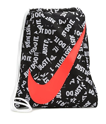 NIKE Young Athlete Drawstring Gymsack Backpack Sport Bookbag (Black Graphics/Crimson Signature Large Brand Name Logo and Swoosh) ()