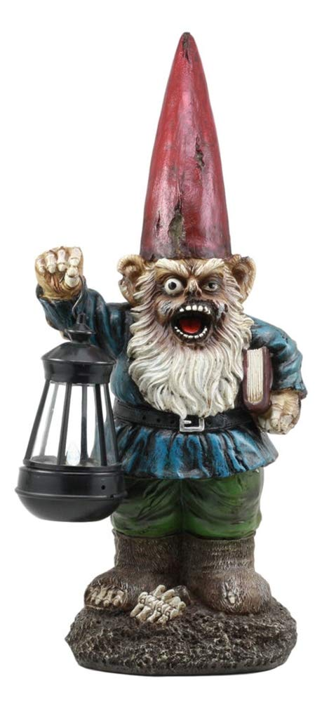 Ky & Co YesKela Walking Dead Zombie Gnome Holding Solar LED Lantern Light Lamp Statue Figurine
