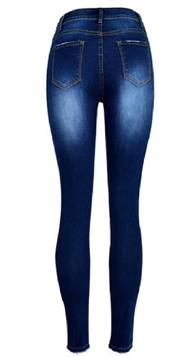 CBTLVSN Women Classic Beading Destroyed Jeans Ripped Denim Pants