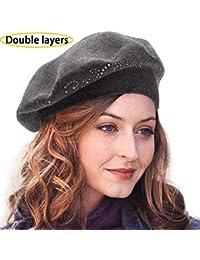 Knit Berets for Women Rhinestones 2 Layers Wool Beret Hats Winter Hats Warm  Soft 9416fc973080