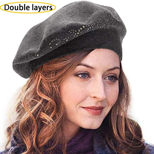 Wool Beret Hats for Women Caps French Berets Beatnik an Knit Womens Prime Gray for $<!--$14.99-->