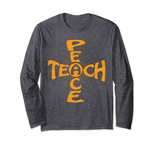 Unisex Cool Teach Peace Love Long Sleeve Tee Shirts for Anti-war Medium Dark Heather
